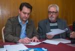 Ratinho Junior e Mario Camargo durante a assinatura do termo-compromisso do Codefoz - foto Marcos Labanca