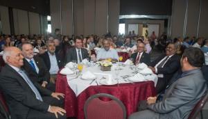 Dirigentes nacionais de entidades sindicais com o senador Paulo Paim e o assessor do Ministério do Turismo, Maurício Rasi - foto Marcos Labanca